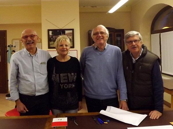 Da sinistra, Beppe Rosso, Miriam Curtaz Rosso, Adriano Frascaroli e Alvaro Puglisi al seggio di Villarbasse