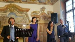 """I """"Quattroquarti""""; da sinistra, Paolo Dolcet, Martina Tosatto, Sonia Schiavone, Davide Motta Frè"""